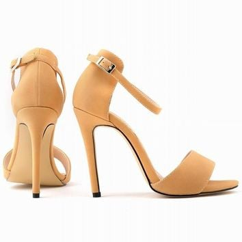 New Fashion Open Toe Suede Women Pumps Ankle Strap High Heels Shoes Summer Shoes Pumps