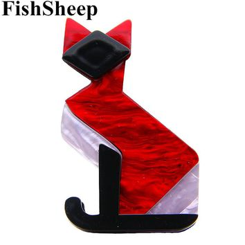 FishSheep 2 Colors Lovely Acrylic Red Cat Brooch Acetate Fiber Animal Brooches And Pins Sweater Scarf Decoration Female Jewelry