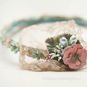1920's style Great Gatsby beaded headband in pink ivory and teal