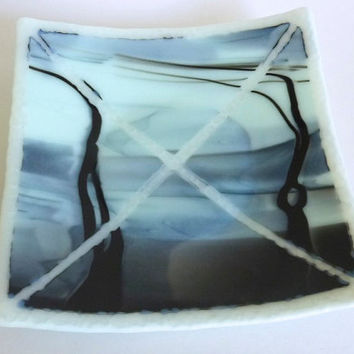 Fused Glass Art Plate in Black and Seafoam
