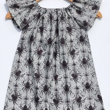 Spider Dress- Peasant Dress; Halloween Dress; Toddler Dress; Girl Dress; Baby Dress; Baby Outfit; Toddler Outfit; Girl Outfit; Baby Headband