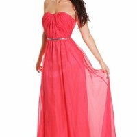 "Beautifly Chiffon Bridal Red Watermelon ""Asta"" Coral Sweetheart Sequin Prom Dress"