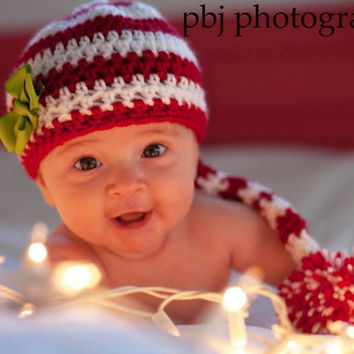 Crochet Long Tailed Pom Pom Baby Hat, Striped Holiday Infant Cap, Kids Holiday Hat, Christmas Photoprop, Baby Pom Pom Hat