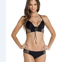 Fashion Retro Vintage Steel Pallets Underwire Two-Piece Sexy Bikini Swim Suit Beach Bathing Suits