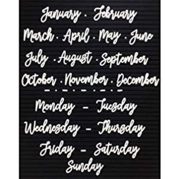 SALE Cursive Days of the Week and Months of the Year Letter Set for Felt Letter Board- White