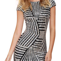 Silver Geometric Sequin Short Sleeve Open Back Dress