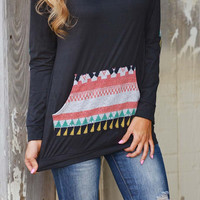 Cupshe Black Knight Hooded Aztec Sweatshirt