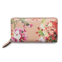 ONETOW Gucci Shanghai St Beige Blooms Apricot Leather Continental Wallet Italy New