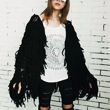 Unique Rope Noodle Fringe Knit Cardigan Sweater