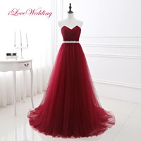 iLoveWedding New Burgundy Prom Gowns A-line Tulle Prom Dress Sweetheart Floor-length Long Vestidos de fiesta Party Dresses 16422