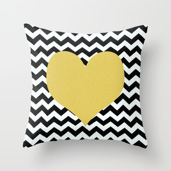 Gold Heart Throw Pillow by Haroulita