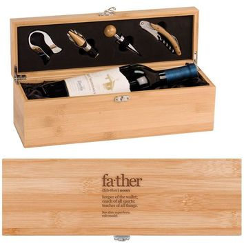 Father Noun Wine Box - One Bottle Set with Tools