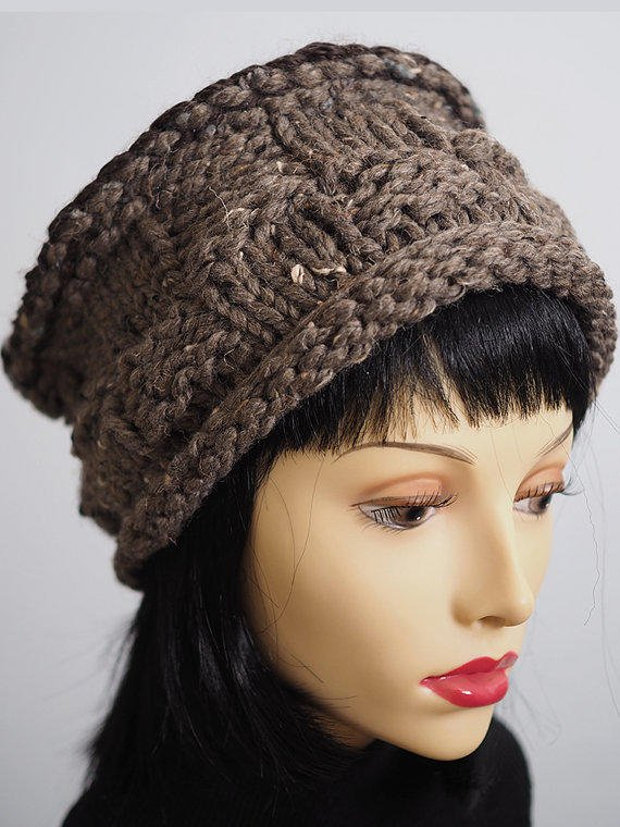 Taupe Hand Knit Roll-Brim Pillbox Hat / from TheMastHatter on