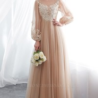 NATALIE   A-line Long Sleeves Appliques Tulle Champagne Evening Dresses   www.babyonlinewholesale.com