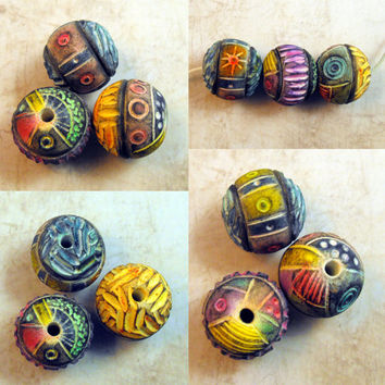 3 Big Artisan Beads Handmade from Polymer Clay