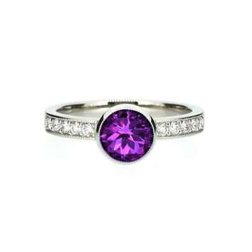 Amethyst solitaire engagement ring made from palladium, unique, milgrain, vintage style ring, amethyst engagement, purple, diamond ring