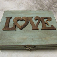 Rustic Robin's Egg Blue Stained Aged LOVE His Hers Divided Moss Bed Wedding Ring Bearers Box