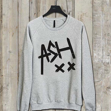 ashton irwin xx logo Music tee Ash Grey  Long Sleeve Crew Neck Pullover Sweatshirt
