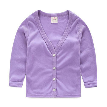 Spring and Autumn Sun Protection Boys Coat Baby Children Solid Color Girls Outerwear Cardigan
