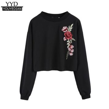 Womens Floral Rose Embroidered Sweatshirts Long Sleeve Casual Cropped Hoodie Sleeves Pullover Tops Sweat Femme 2017 Black *1016