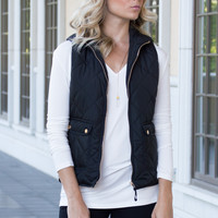 Warm Me Up Quilted Black Vest