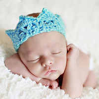 crown baby hat handmade crochet photography props newborn baby cap only for newborn blue