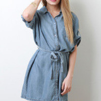 Women's Self-Tie Waist Strap Casual Denim Dress - Size S