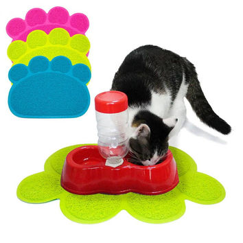 Pet Dog Cat Puppy Dish Bowl Food Water Placemat Mat PVC Paw Shape Style New