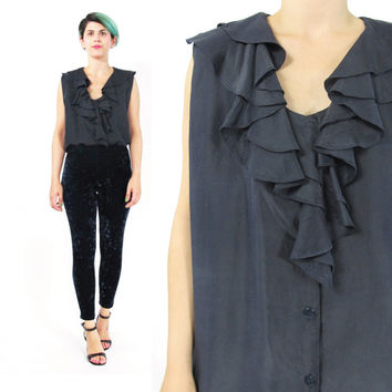 Vintage Navy Silk Blouse 80s 90s Ruffle Collar Blouse Silk Sleeveless Blouse Dark Blue Silk Tank Top Minimal Button Down Front Shirt (L)