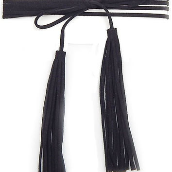 Suede Tassel Double Wrap Choker Necklace - Black