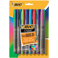 BIC® Cristal Ballpoint Pens, Bold Point, 1.6mm, Translucent Barrel, Assorted Ink Colors, Pack Of 24 Item # 402716
