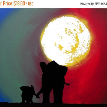canvas art Original sunset animal Landscape Giclee Art Print Elephants silhouette art sunrise decor art starry night a3 a4 print