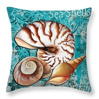 "Sea Shells Original Coastal Painting Colorful Nautilus Art by Megan Duncanson 14"" x 14"" Throw Pillow for Sale by Megan Duncanson"