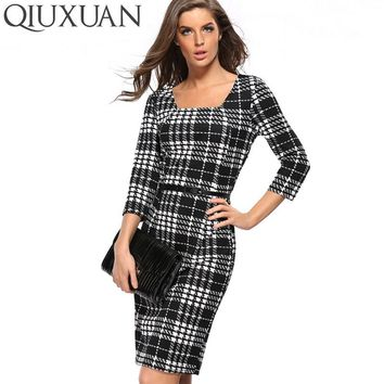 Elegant Women Knee Length Dress 2017 Spring Fashion Plaid Pattern Square Collar Three Quarter Sleeve Sheath Package Hip Dress