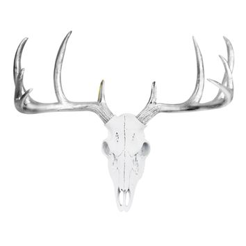 Large Deer Head Skull | Faux Taxidermy | White + Silver Antlers Resin