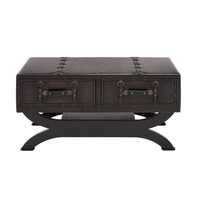 Woodland Imports Classy Wood / Leather Coffee Table & Reviews | Wayfair