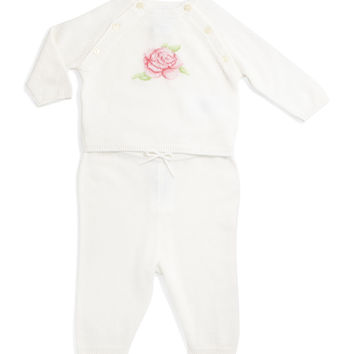 Rose-Intarsia Cashmere Sweater & Pants, White, Size 3-12 Months, Size: