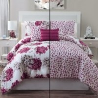 5pc Luxury Carolina Rose/ Ivory Reversible Comforter Set - King Bedding Sets - Bedding by Size - Bed in a Bag | Looking for Bedding in a Bag sets contact BedInABag.com