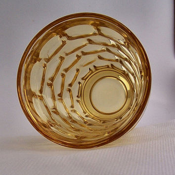 Yorktown Gold Colonial Footed 6 oz Tumbler by Federal Glass Company, Pattern FEGYOGO, Vintage Pressed Glassware