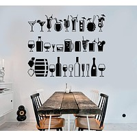 Vinyl Wall Decal Alcohol Bar Drink Party Lounge Restaurant Stickers Unique Gift (ig4417)