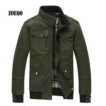 ZOEQO Spring Jacket men High quality male stand collar flight air force jacket autumn  cotton mens jackets and coats