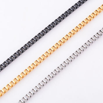 Multi-Tone Stainless Steel Unisex Box Chain Necklace