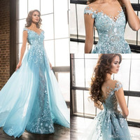 New Listing V-Neck Long Prom Dresses Light Blue Appliqued Formal Gowns Prom Dress