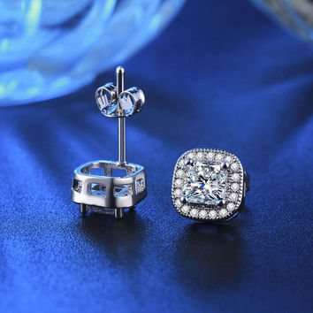 Classic Design White Gold Plated Princess-cut Big Square  Diamond Wedding Stud Earrings
