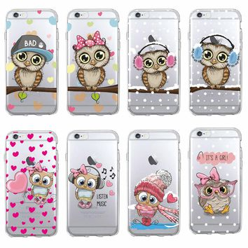 TOMOCOMO Cute Owl Hearts Lover Christmas Cartoon Phone Case Fundas Coque Cover For iPhone 7 7Plus 6 6S 8 8PLUS X SAMSUNG GALAXY