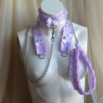 Kitten play collar leash and cuffs set - Lavender Light - bdsm proof kittenplay gear ddlg kink petplay slave girl boy adult sexy Nekollars