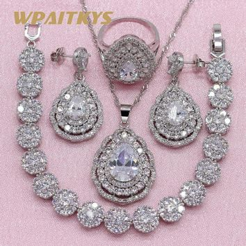 Exquisite Pure White Cubic Zirconia 925 Silver Jewelry Sets For Women Wedding Necklace Drop Earrings Bracelet Ring Free Gift Box