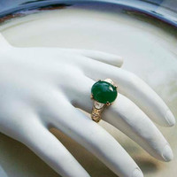 Vintage Emmons faux Emerald gold ring adjustable band