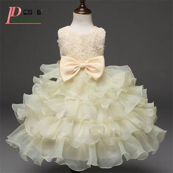 Vestido Flower Baby Princess Dress Wedding Birthday Infant Girls Clothes Newborn Toddler Baptism Dresses Baby Lace tutu Dress