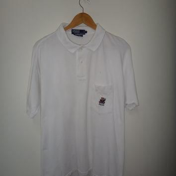 Vintage Polo By Ralph Lauren The Big Shirt Made In USA Polo Bear 1993 White